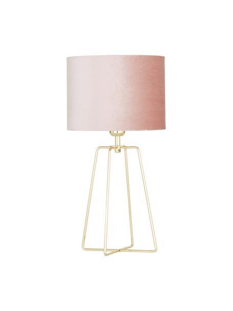 Samt-Tischlampe Karolina, Lampenschirm: Samt, Altrosa Messing, glänzend Transparent, Ø 25 x H 49 cm