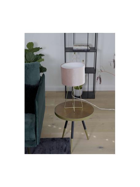 Samt-Tischlampe Karolina in Rosa, Lampenschirm: Samt, Altrosa Messing, glänzend Transparent, Ø 25 x H 49 cm