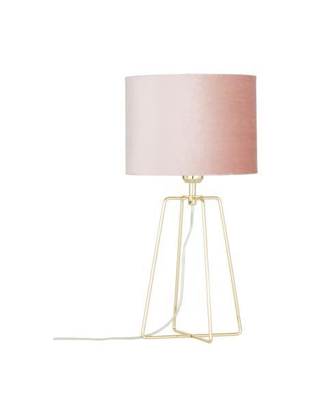 Fluwelen tafellamp Karolina in roze, Lampenkap: fluweel, Lampvoet: vermessingd metaal, Oudroze messing, glanzend transparant, Ø 25 x H 49 cm