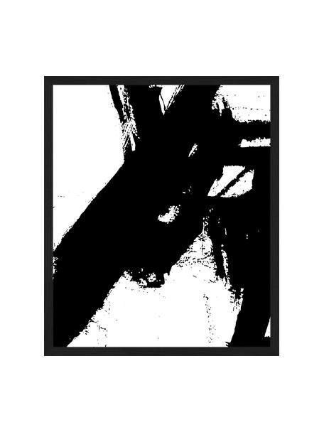 Stampa digitale incorniciata Franz Kline V1, Immagine: stampa digitale su carta,, Cornice: legno verniciato, Nero, bianco, Larg. 53 x Alt. 63 cm