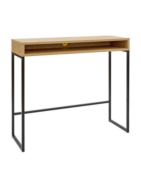Wąskie biurko Frame, Korpus: płyta pilśniowa średniej , Nogi: metal malowany proszkowo, Drewno dębowe, S 100 x G 35 cm