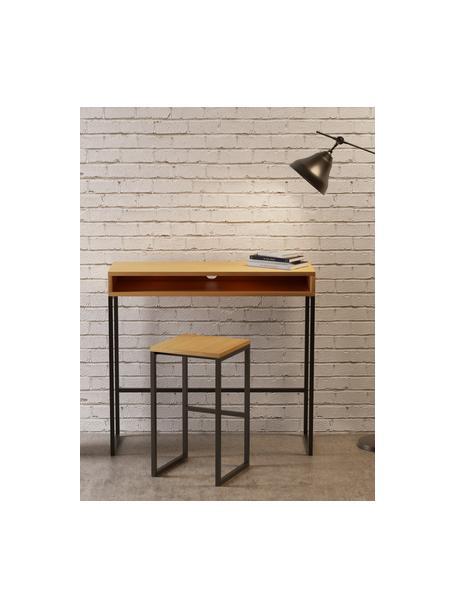 Smal staand bureau Frame, Frame: MDF met eikenhoutfineer, Poten: gepoedercoat metaal, Eikenhoutkleurig, B 100 x D 35 cm