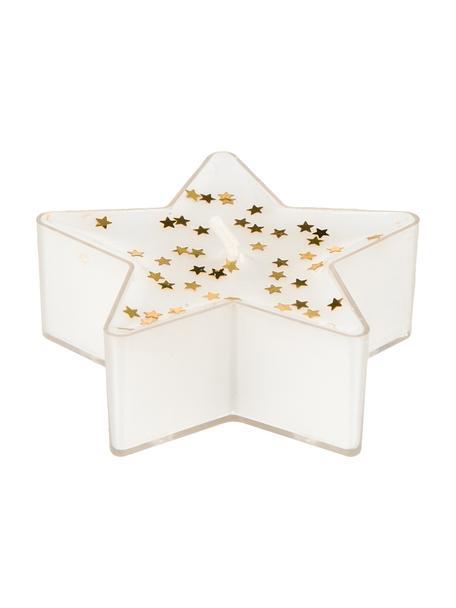 Waxinelichten Gloria, 4 stuks, Was, Wit, goudkleurig, 6 x 3 cm