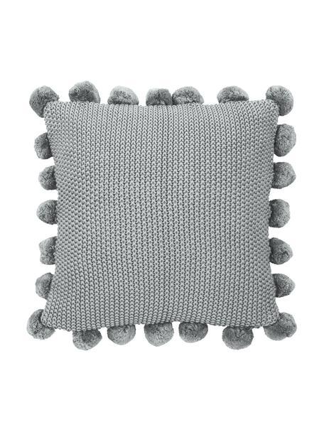 Poszewka na poduszkę z dzianiny z pomponami Molly, 100% bawełna, Jasny szary, S 40 x D 40 cm