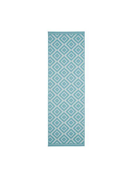 Passatoia fantasia color turchese/bianco da interno-esterno Miami, 86% polipropilene, 14% poliestere, Bianco, turchese, Larg. 80 x Lung. 250 cm