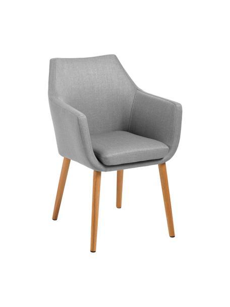 Sedia stile nordico con braccioli Nora, Rivestimento: 100% poliestere Il rivest, Gambe: legno di quercia, Tessuto grigio chiaro, gambe in quercia, Larg. 58 x Prof. 58 cm