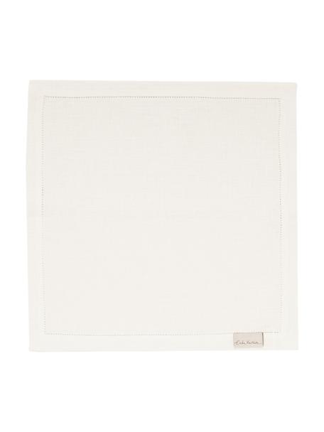 Tovagliolo in lino con bordo ricamato Alanta 6 pz, Bianco crema, Larg. 42 x Lung. 42 cm