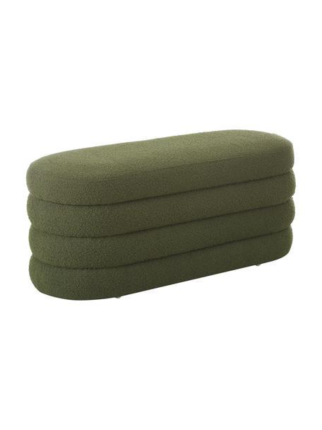 Panca imbottita in tessuto bouclé verde Alto, Rivestimento: 100% poliestere (pellicci, Struttura: legno di pino massiccio, , Bouclé verde, Larg. 110 x Alt. 47 cm