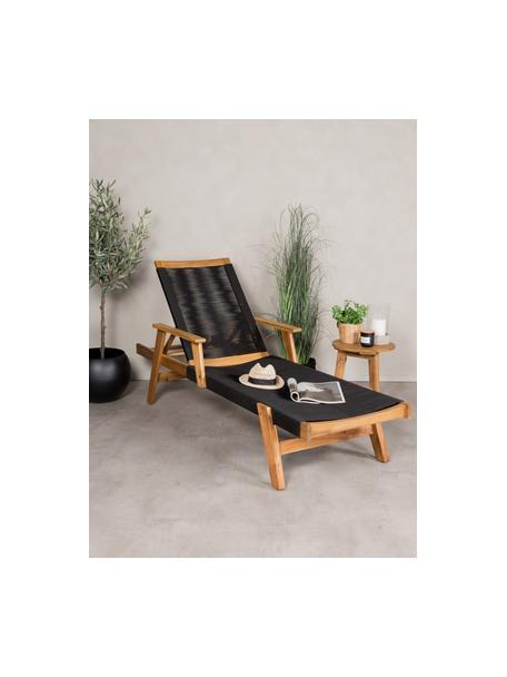 Leżak ogrodowy Little John, Stelaż: drewno akacjowe, Czarny, beżowy, D 200 x S 73 cm