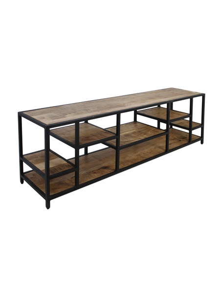 Aparador de madera y metal Levels, Madera de mango, metal, Marrón, negro, An 170 x Al 55 cm