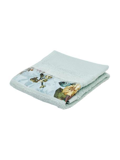 Handtuch Fleur in verschiedenen Größen, mit Blumen-Bordüre, 97% Baumwolle, 3% Polyester, Mintgrün, Mehrfarbig, Gästehandtuch