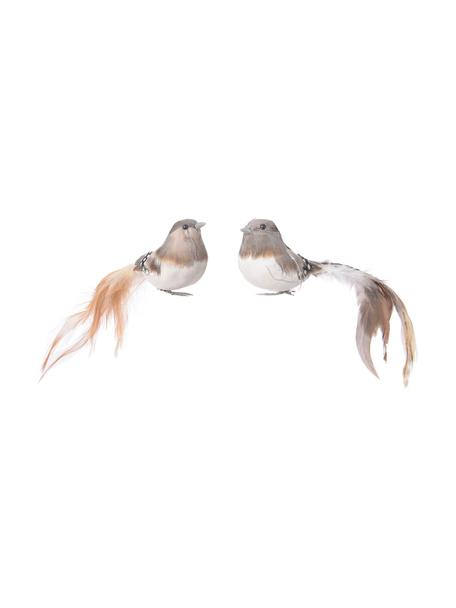 Adornos navideños con clip Gall, 2uds., Adornos: espuma, plumas, Beige, gris, blanco, An 18 x Al 5 cm
