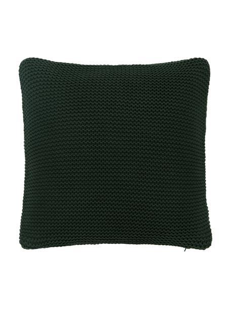 Federa arredo a maglia verde scuro Adalyn, 100% cotone, certificato GOTS, Verde scuro, Larg. 50 x Lung. 50 cm