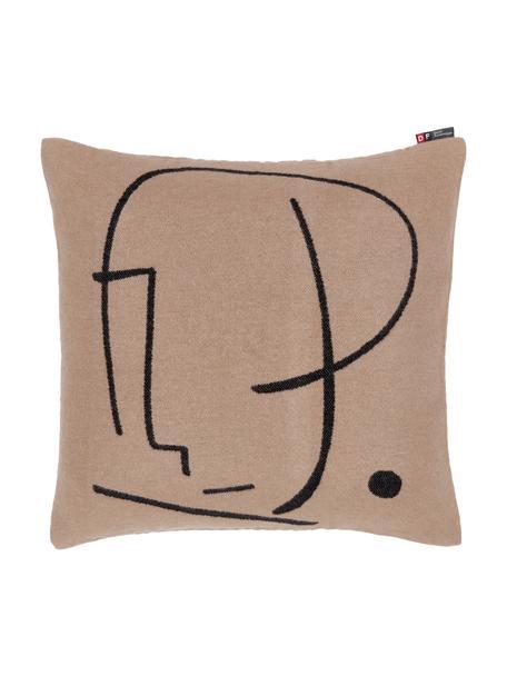 Katoenen kussenhoes Nova Punkt met abstracte print, Bruin, zwart, 50 x 50 cm