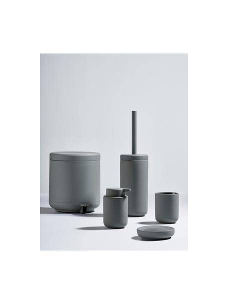 Scopino con contenitore in gres Ume, Contenitore: gres rivestito con superf, Manico: materiale sintetico, Grigio opaco, Ø 10 x Alt. 39 cm