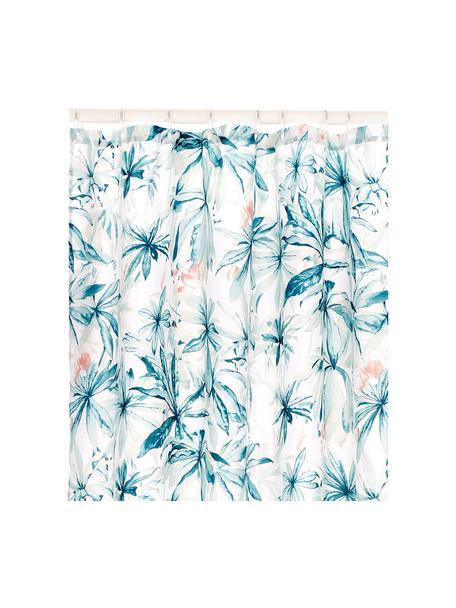 Tenda da doccia con motivo tropicale Foglia, 100% poliestere Idrorepellente non impermeabile, Bianco, multicolore, Larg. 180 x Lung. 200 cm