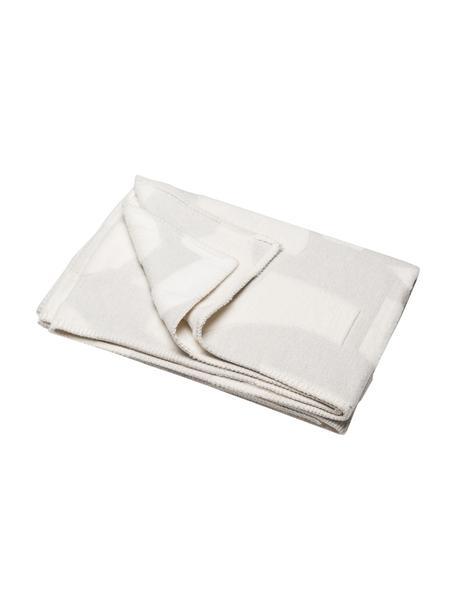 Coperta in flanella color grigio/bianco con cuciture decorative Grafic, 85% cotone, 15% poliacrilico, Grigio, bianco, Larg. 130 x Lung. 200 cm