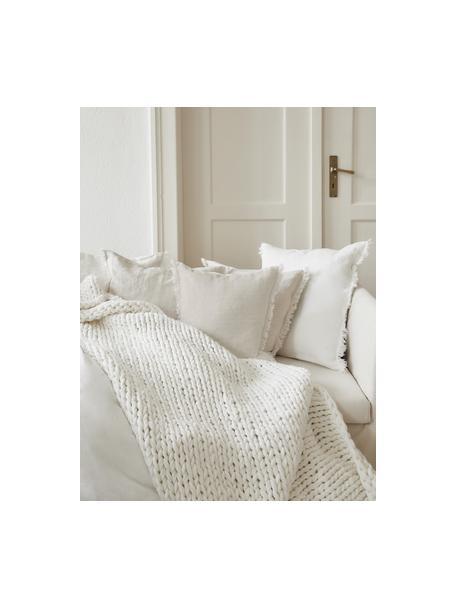 Federa arredo in lino beige chiaro con frange Luana, 100% lino, Beige, Larg. 40 x Lung. 40 cm