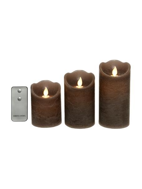 Set de velas LED Beno, 3uds, a pilas, Cera, Marrón, Set de diferentes tamaños