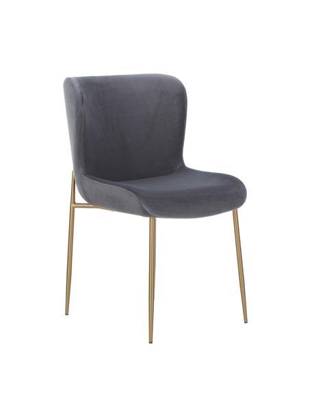 Fluwelen stoel Tess in antraciet, Bekleding: fluweel (polyester), Poten: gecoat metaal, Fluweel antraciet, poten goudkleurig, B 49 x D 64 cm