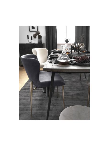 Krzesło tapicerowane z aksamitu Tess, Tapicerka: aksamit (poliester) Dzięk, Nogi: metal powlekany, Aksamitny antracytowy, nogi: złoty, S 49 x G 64 cm
