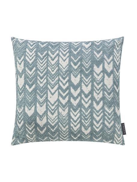 Kussenhoes Tilas met hoog-laag patroon & fluwelen achterzijde, Mintblauw, crèmekleurig, 40 x 40 cm