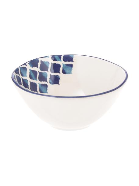 Ręcznie wykonana miseczka Ikat, 6 szt., Ceramika, Biały, niebieski, Ø 16 cm
