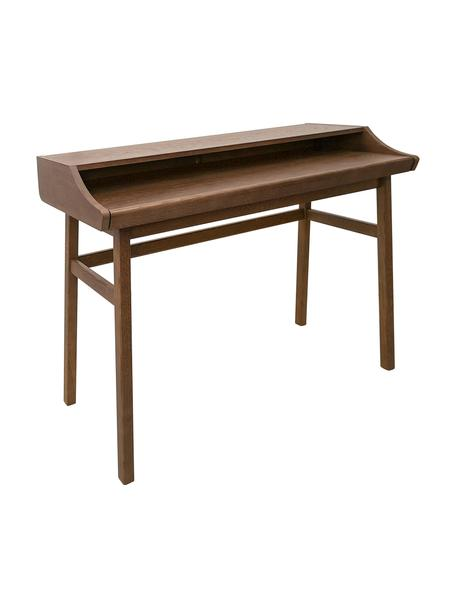 Schmaler Schreibtisch Carteret, Beine: Eichenholz, massiv, gebei, Tischplatte: Spanplatte mit Eichenholz, Dunkelbraun, 115 x 83 cm