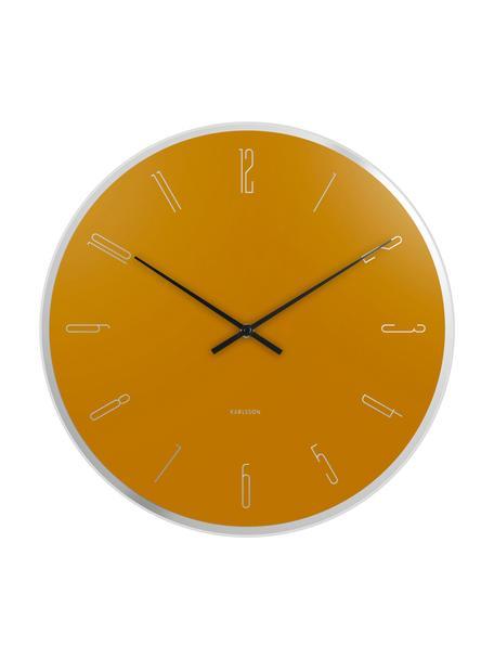 Reloj de pared Mirror Numbers, Vidrio, Amarillo, plateado, negro, Ø 40 cm
