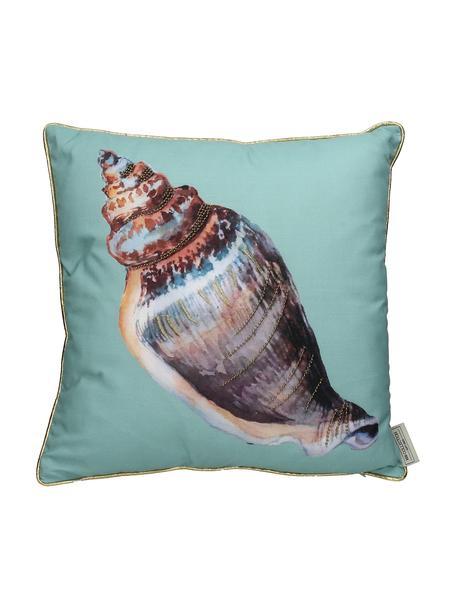 Outdoor kussen Shell met kleine geborduurde kralen, met vulling, Turquoise, multicolour, 45 x 45 cm