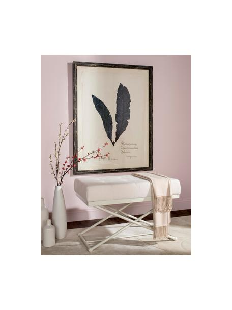 Sitzbank Chloe in Weiß, gepolstert, Bezug: Leinen, Füße: Metall, lackiert, Ecru, Creme, 83 x 56 cm