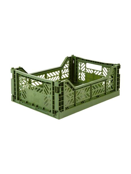 Klappbox Khaki, stapelbar, medium, Recycelter Kunststoff, Khaki, 40 x 14 cm