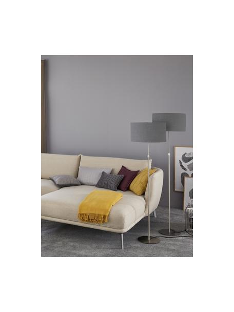 Klassische Stehlampe Pina in Dunkelgrau, Lampenschirm: Stoff (Chintz), Lampenfuß: Metall, Grau, Silberfarben, Ø 40 x H 150 cm