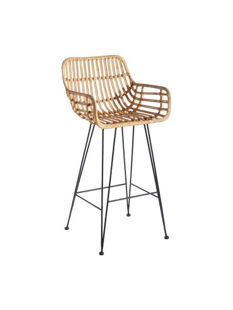 Krzesło barowe z rattanu Natural Way, Nogi: metal powlekany, Brązowy, S 49 x W 105 cm