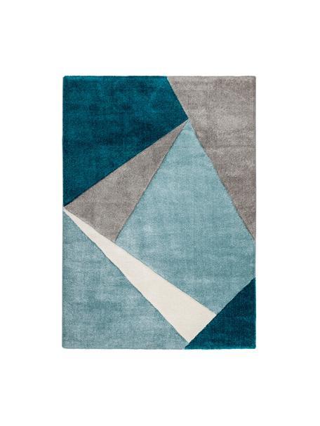 Vloerkleed My Broadway met geometrisch patroon in beige-blauw, Bovenzijde: 100% polypropyleen, Onderzijde: jute, Blauwtinten, beige, crèmekleurig, B 120 x L 170 cm (maat S)