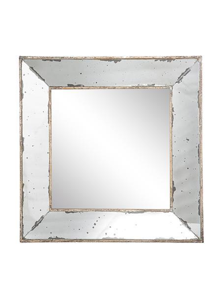 Espejo de pared de metal Little Bruno, Espejo: cristal, Blanco, latón, An 46 x Al 46 cm
