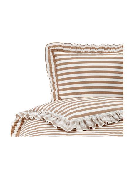 Pościel z bawełny z efektem sprania Averni, Niebieski, biały, 135 x 200 cm + 1 poduszka 80 x 80 cm