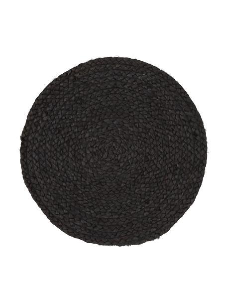 Runde Jute-Tischsets Thrill, 4 Stück, Jute, bemalt, Schwarz, Ø 35 cm