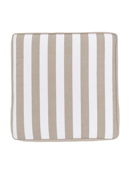 Hohes Sitzkissen Timon in Taupe/Weiß, gestreift, Bezug: 100% Baumwolle, Beige, 40 x 40 cm