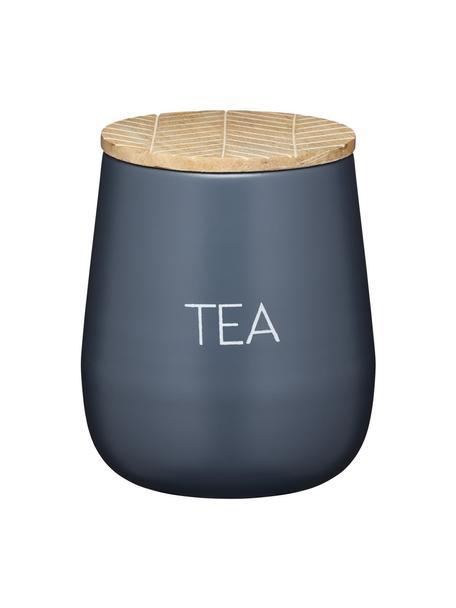 Aufbewahrungsdose Serenity Tea, Ø 13 x H 15 cm, Dose: Stahl, beschichtet, Deckel: Mangoholz, Anthrazit, Holz, Ø 13 x H 15 cm