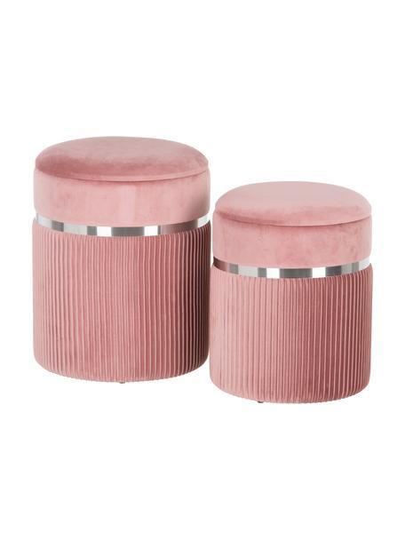 Fluwelen poefenset Chest met opbergruimte, 2-delig, Bekleding: polyester (fluweel), Roze, zilverkleurig, Set met verschillende formaten