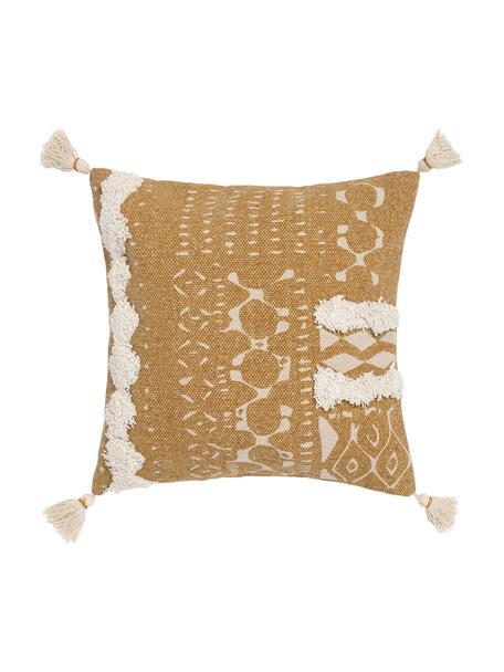 Federa arredo boho con motivo a rilievo e nappe Boa, 100% cotone, Giallo, bianco, Larg. 45 x Lung. 45 cm