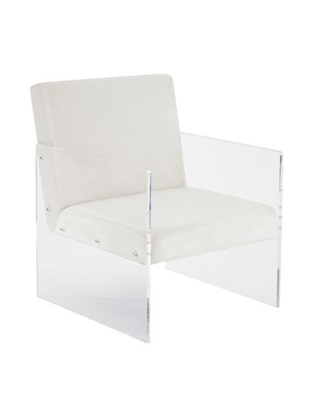 Fotel wypoczynkowy z aksamitu Ayden, Tapicerka: aksamit (poliester) Dzięk, Nogi: szkło akrylowe, Aksamitny beżowy, S 69 x G 74 cm
