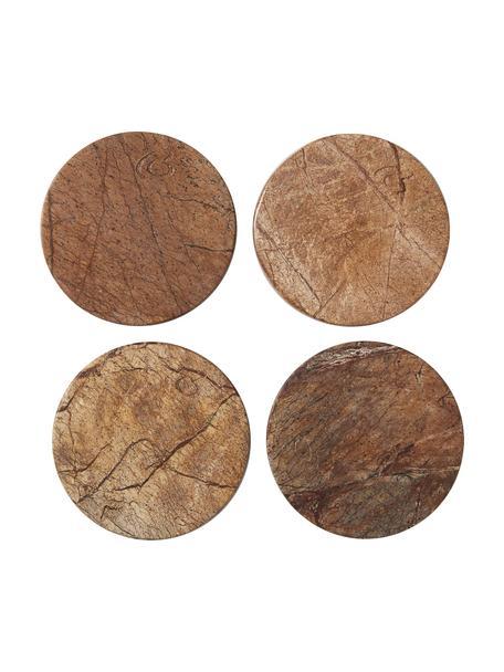 Bruin marmeren onderzetters Estille, 4 stuks, Gepolijst marmer, Bruintinten, Ø 10 cm