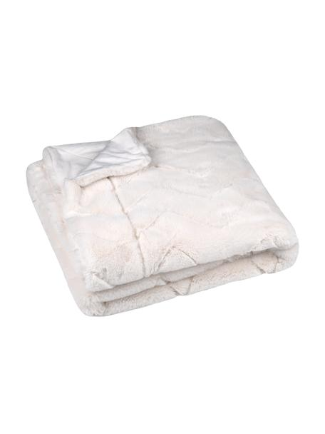 Zachte plaid Geneve met gestructureerd oppervlak, 100% polyester, Ecru, 130 x 160 cm