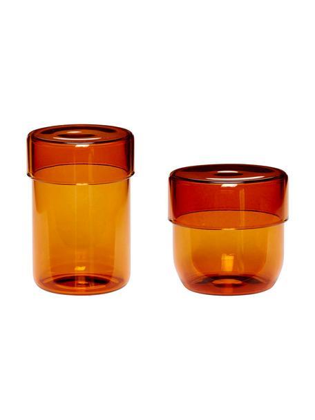Opbergpottenset Transisto, 2-delig, Glas, Amberkleurig, Pottenset M