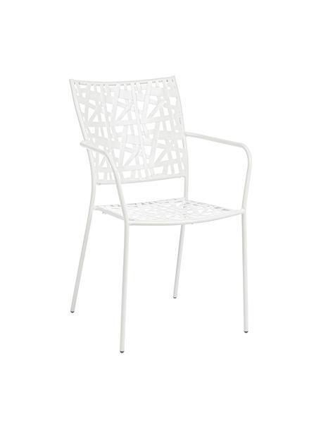 Sedia impilabile da giardino in metallo Kelsie, Metallo verniciato a polvere, Bianco, Larg. 55 x Prof. 54 cm