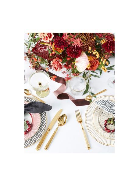 Goudkleurige bestekset Elegance met groefstructuur aan handvat, 4-delig, PVD gecoat edelstaal, Goudkleurig, L 21 cm