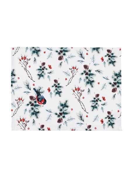Manteles individuales Aubepine, 2uds., 100%algodón, Blanco, verde, rojo, An 38 x L 50 cm