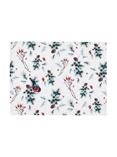 Podkładka Aubepine, 2 szt., 100% bawełna, Biały, zielony, czerwony, S 38 x D 50 cm